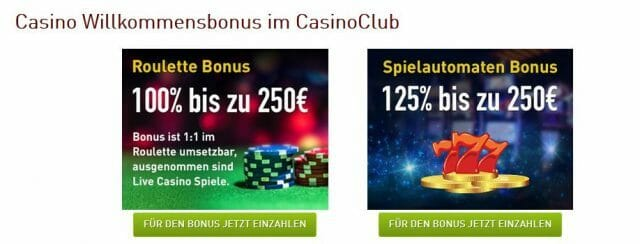 Casino Club Bonusoptionen