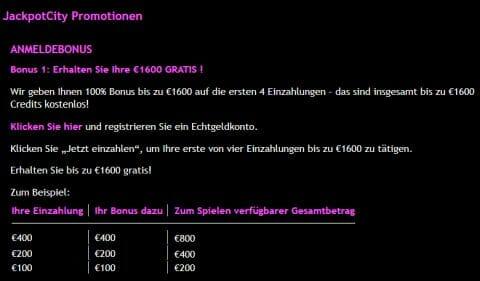 Jackpot City Anleitung Bonus